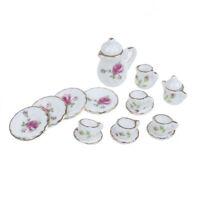 15 Stk 1:12 Puppenhaus Miniatur Geschirr Porzellan Keramik Kaffee Teetassen Set