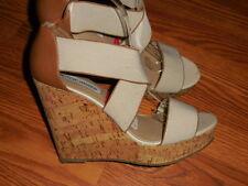 "STEVE MADDEN STARKEY Womens Tan Wedge Sandal 5"" Heel Sz 10 M"