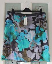 Monsoon Turquoise Floral Rose Print Knee Length 'Laura' Skirt Size 16 BNWT
