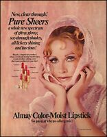 1970 Teen girl in pink Almay color moist lipstick vintage photo print ad adl6