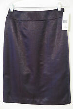 NWT Lafayette 148 Navy Shimmer Wool Blend Straight Skirt Size 4 MSRP $298