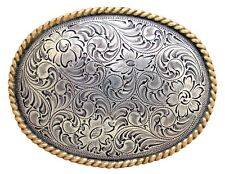 WESTERN COWBOY COWGIRL OVAL ROPE GOLD AND SILVER PLAYED TROPHY BELT BUCKLE