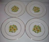 """Staffordshire England SUMMERTIME Dinner Plates 10"""" Set of 4 Daisies-Gold Trim"""