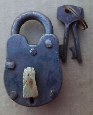 "Old West Jail Cast Iron Padlock 2 1/2"" Lock W/2 KEYS WORKS Pirate FREE SHIPPING"