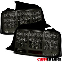 2005-2009 Ford Mustang Smoke Lens LED Sequential Tail Lights Brake Lamps Pair