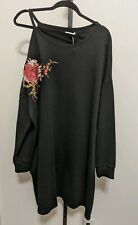 MAURICES Plus Shirt Tunic Dress Cold Shoulder Cutout Black Embroidery 3X Floral