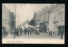 Somerset HIGHBRIDGE Church St Wells Butcher & locals c1900s? PPC pub Perkins