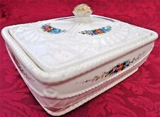 Antique Georgian Creamware Butter Dish Tub & Lid Hand Painted Basketweave c 1825