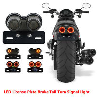 Brake Tail Turn Signal License Plate Integrated Dual LED Light For Motorcycle