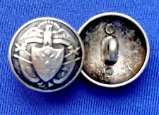 """3/4"""" Silver Tone Metal Sewing on Buttons Waterbury Eagle Above Shield 6 Pcs #B68"""