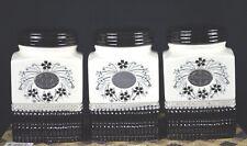SET OF THREE CERAMIC TEA/SUGAR/COFFEE CANISTER SET [BLACK/WHITE]
