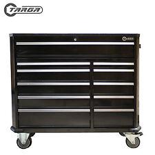 "TARGA 43"" 11 Drawer Tool Box MECHANICS TOOL CHEST Roller Cabinet BLACK"