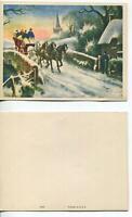 VINTAGE CHRISTMAS ENGLAND HORSES SLEIGH STREAM CHURCH HOUSE DOG STONE LITHO CARD