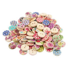 100pcs 15mm Flower Plants Mixed Colors Pattern Round Buttons Wooden Sewing P6J4