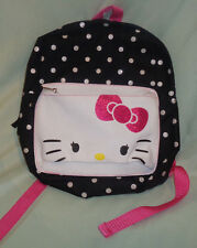 SANRIO HELLO KITTY WITH Pink BOW BLACK & WHITE POLKA DOT BACKPACK  12x11x2