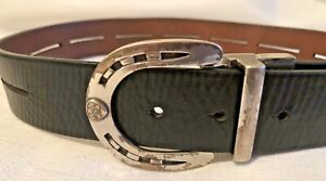 ARIAT Youth Black Leather Belt-Silver Horse Shoe Buckle-Size 26