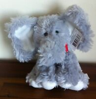 RUSS Berrie Grey & White Elephant Soft Plush Jungle Toy Gift Small