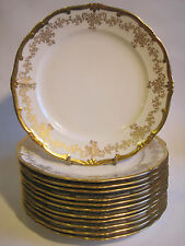 "Weimar Porcelain ""Katharina"" 10 3/8"" Dinner Plate White Gold Encrusted Germany"