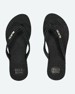 BILLABONG REAL NEW Ladies FlipFlops Thong Sandal KICK BACK BLACK  2 Silver Logo
