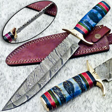 """Authentic HAND FORGED DAMASCUS 15"""" HUNTING KNIFE - ENGRAVING BONE - UT-4065"""
