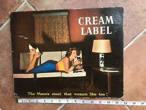 Vintage Mann's Cream Label Brewery Bar Display Showcard - Beer Sign