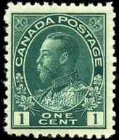 Canada #104b mint F-VF OG NH 1911-1913 King George V 1c blue green Admiral