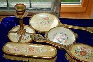 Rare ormolu French dresser set petite point candle holder trinket mirror 5 psc+