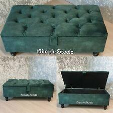 Emerald Green Chesterfield Storage Ottoman Footstool, Shoe Storage soft velvet