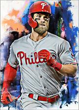2020 Bryce Harper Philadelphia Phillies 8/25 Art ACEO Sketch Print Card By:Q