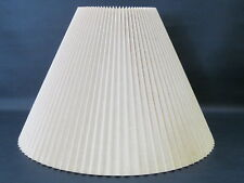 "Beige Hard Pleated Linen Lampshade Mid Century 7-18"" Wide x 12-13"" Rise"