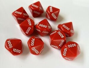 10-Sided Dice - Set of 10 Opaque Red with White Numbers Counting by 1000s