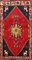 Tribal Geometric Kashkoli Animal Design Area Rug Hand-knotted Wool Carpet 4x6 ft