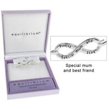 Equilibrium silver plated infinity bangle Special Mum and Best Friend Bracelet