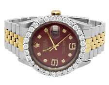 Rolex Datejust 2 Tone 36MM 18K Stainless Steel Custom Dial Diamond Watch 5.5 Ct