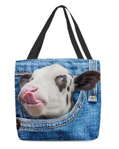 Cow In Pocket Tote Bag, Dairy Cows Canvas Tote Bag, Should Bag