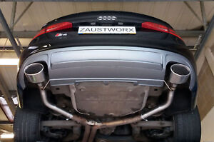 Audi S4 3.0 V6T (B8) Rear silencer delete pipes - 6x4 RS Style tips