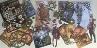 Craft clearout mix, card toppers, paper die cuts, bundle Steampunk vintage cog