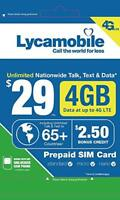 LYCAMOBILE Preloaded SIM Cards Prepaid $23/$29 2 Months Service Included