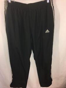 VTG Adidas Men's Black L Lined Nylon Track Windbreaker Pants Zip Ankles