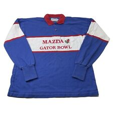 Vintage Mazda Gator Bowl T Shirt Rugby Style Polo Long Sleeve L Blue Red White