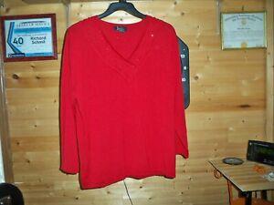 JENNY Women Cardigan Sweater Pullover Plus Sz Red Bling 2X
