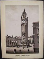 Antique Print Prince ALBERT MEMORIAL Clock Tower Belfast Northern Ireland Illus
