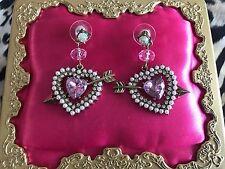 Betsey Johnson Cupid's Arrow Pearl Valentine Heart Pink CZ Earrings VERY RARE