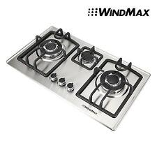 28 in Silver Stainless Steel 3 Burner Built-In Stove Ng Gas Cooktop Cooker 8350W
