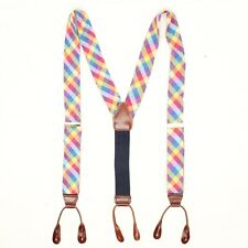 Mens Cotton Madras Braces Suspenders Red Pink Blue Yellow Plaid Easter Spring