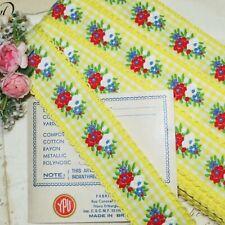 12y Bolt Vtg Jacquard Trim Yellow White Cotton Gingham Ribbon French Roco