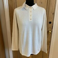 DENNER 100% Cashmere Jumper Size M L  Cream Ivory Collared Long Sleeves Buttons