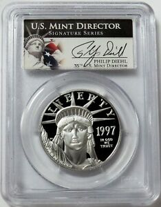 1997 W PLATINUM $100 AMERICAN EAGLE 1 oz DIEHL SIGNED PROOF COIN PCGS PR 69 DCAM