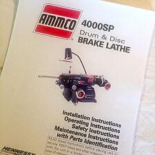 Ammco Operating Parts Maintenance Manual 4000sp Single Pass Brake Lathes
