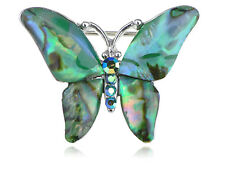 Silver Tone Abalone Colored Stones Green Blue Butterfly Brooch Pin